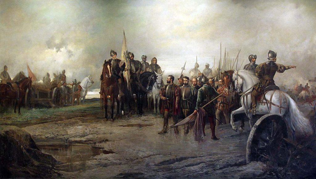 Óleo de Manuel Pícolo López que muestra la rendición de los líderes comuneros