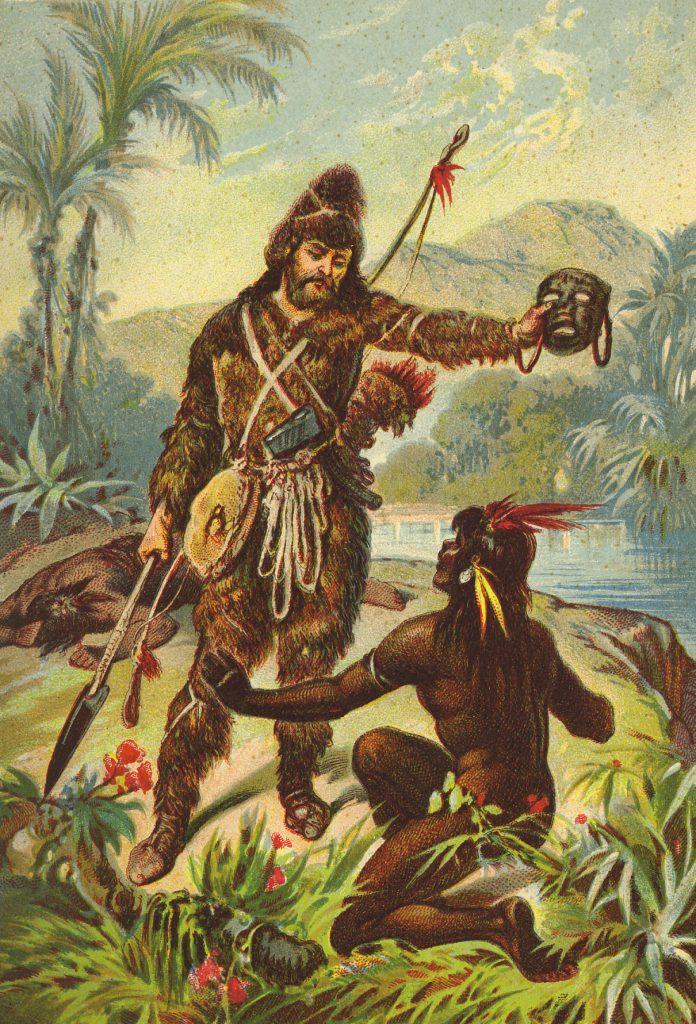 Una imagen de Crusoe preguntándole a este nativo por su nombre... No, espera, que le pone el que que le viene en gana y le pide que le llame amo.