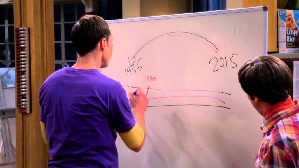 Sheldon Cooper explicando las paradojas temporales de Regreso al futuro.